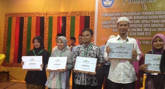 Pemenang Tenaga Perpustakaan Tingkat SMA Provinsi Aceh tahun 2018